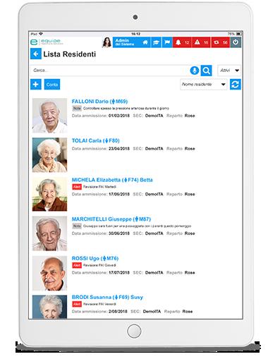 Equipe screenshot Lista residenti